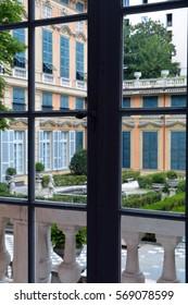 Beautiful Italian garden seen from a window