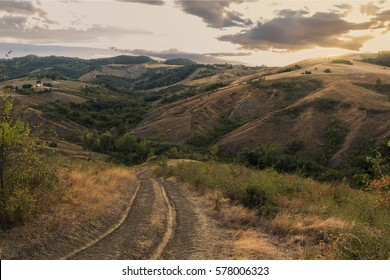 Beautiful Italian hills at sunset from Tuscany