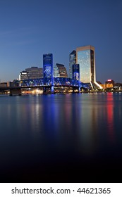 Beautiful Jacksonville, Florida skyline with reflections in St. John's River at twilight