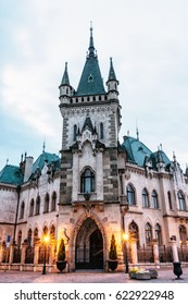 Beautiful Jakab's palace in Kosice city, Slovak republic. Evening photo. Architectural scene.