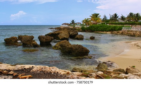 The beautiful Jamaican beaches with rocky shores. Taken in Lucea, Jamaica