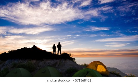 Beautiful Japan Alps and sea of clouds with camping tents in summer