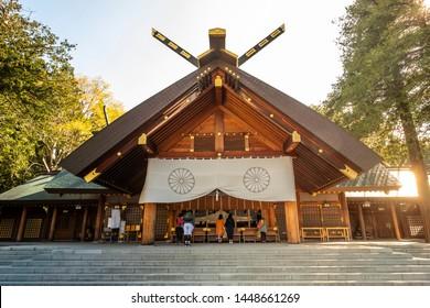 Beautiful Japanese architecture of Hokkaido Shrine for Shinto religious located in Sapporo, Hokkaido, Japan