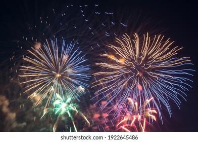 Beautiful japanese fireworks in Düsseldorf