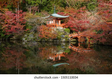 Beautiful japanese garden with colorful maple trees in Daigoji temple in autumn season, Kyoto, Japan