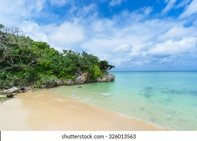 Beautiful Japanese tropical beach with clear turquoise water, Ishigaki Island National Park of the Yaeyama Islands, Okinawa, Japan