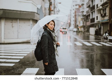 Beautiful japanese woman, lifestyle moments on the street