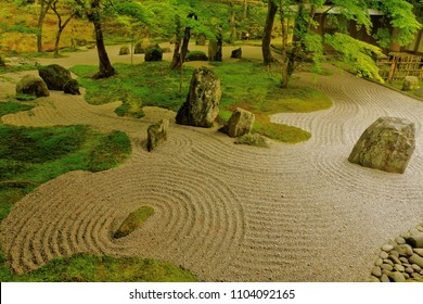 Beautiful Japanese zen rock garden call in Japanese is karesansui ,where is Komyozenji Temple in Dazaifu ,Fukuoka ,Kyushu ,Japan. Komyozenji shrine is a Zen temple ,has front and rear stone gardens.