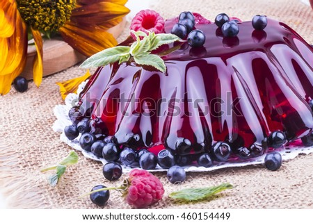 beautiful jelly with fresh forest berries
