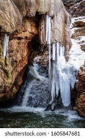 Beautiful Jemez Soda Dam under a layer of snow, Valles Caldera, New Mexico, United States