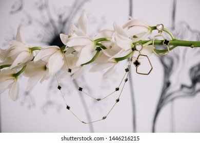 Beautiful jewellery set of earrings and a necklace hanging on cymbidium branch, close up view