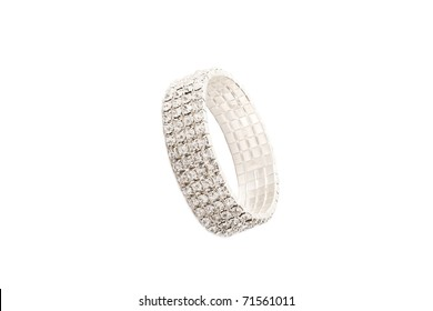 beautiful jewelry bracelet with lots of stones isolated on white background