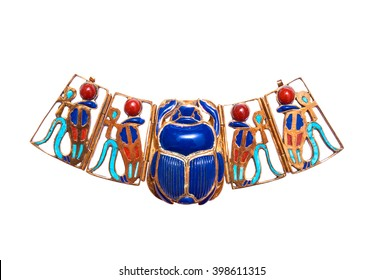 Beautiful jewelry with semiprecious stones, lapis lazuli, carnelian,  necklace for woman in a shape of the ancient Egyptian scarab and serpents symbol, ancient egypt design