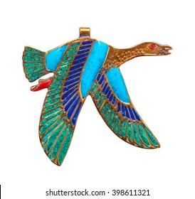 Beautiful jewelry with semiprecious stones, lapis lazuli, carnelian,  necklace for woman in a shape of the ancient Egyptian flying goose with 2 wings symbol, ancient egypt design