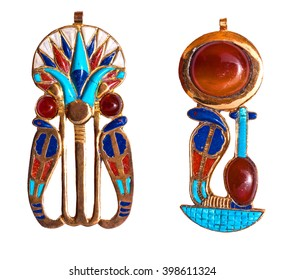 Beautiful jewelry with semiprecious stones, lapis lazuli, carnelian,  necklace for woman in a shape of the ancient Egyptian snake (serpent) symbol, ancient egypt design