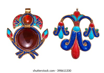 Beautiful jewelry with semiprecious stones, lapis lazuli, carnelian,  necklace for woman in a shape of the ancient Egyptian lotus flower symbol, ancient egypt design