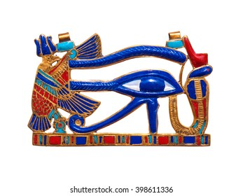 Beautiful jewelry with semiprecious stones, lapis lazuli, carnelian,  necklace for woman in a shape of the ancient Egyptian Horus eye symbol, ancient egypt design