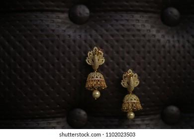 beautiful jhumkas earrings gold bridal arrangement