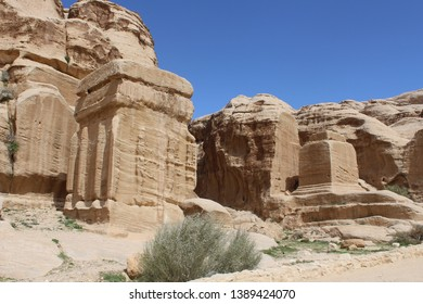 Beautiful jinn blocks of the Bab as-Siq (Gate of the Siq), the passage that leads to the famous historical and archaeological city of Petra, Wadi Musa, Jordan