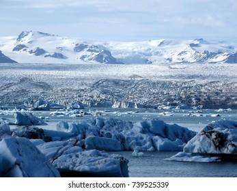 The beautiful Jokulsarlon Glacier Lagoon in Iceland, July 7, 2017