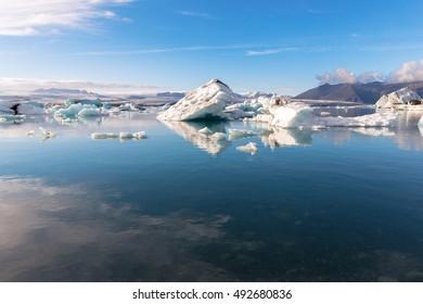 Beautiful Jokulsarlon glacier lagoon, view of icebergs, Iceland