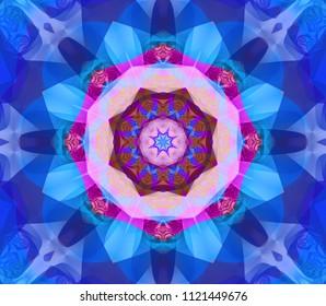 Beautiful kaleidoscope blue seamless pattern. Fashionable illustration. Bright flower.