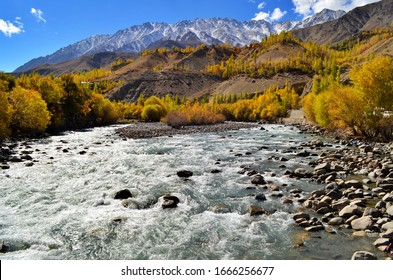 Beautiful Kargil Valley J&K, River Flowing Between Beautiful Mountains, Leh Ladakh, Nature Amazing View, Himalayas, India. October 2015