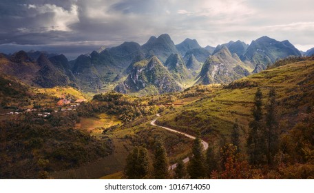 Beautiful karst plateau Dong Van, which consists of many rocky peaks is located in the province of Hà Giang, North Vietnam.