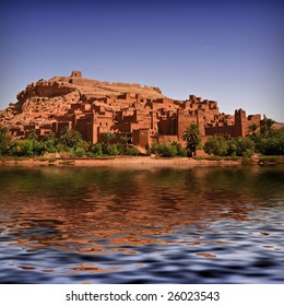 The beautiful Kasbah of Ait Benhaddou with the river full of water. Morocco background