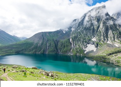 Beautiful Kashmir great lakes on mountain view with snow of Sonamarg, Jammu and Kashmir state, India. Is an Kishansar lake in the Himalayas range situated at a height of about 4,200 m. Hiking Trekking
