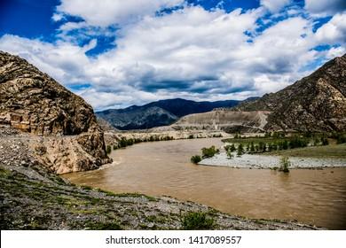 Beautiful Katun river in Altai in spring