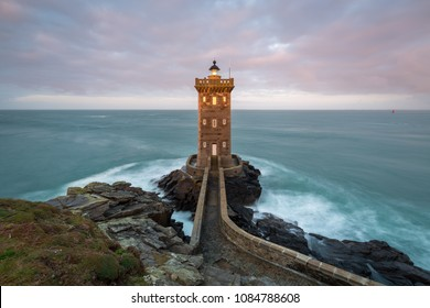 Beautiful Kermorvan lighthouse, most western part of France, Le Conquet, Bretagne, France