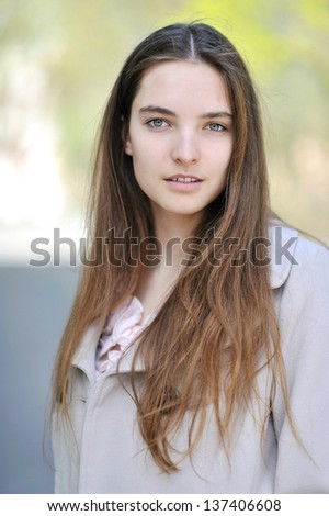 Beautiful Kind Girl Portrait Outdoor Close Up