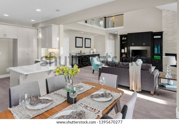 Beautiful Kitchen Dining Room Living Room Stock Photo Edit Now