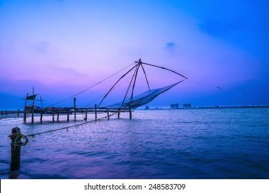 Beautiful Kochi chinese fishnets in twilight Kochi, Kerala. Fort Kochin, Kochi, Kerala, south India