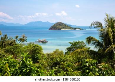Beautiful Koh Kham island at view point in Koh Mak island with pier beach, Trat, Thailand