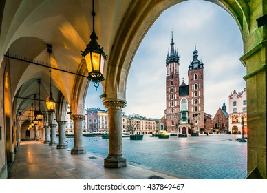 Beautiful Krakow market square, Poland, Europe. Faded colors.