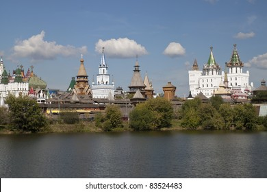 Beautiful kremlin in Izmailovo view across the river, Moscow, Russia