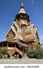 Beautiful kremlin in Izmailovo, A wooden church in the Kremlin. Moscow, Russia
