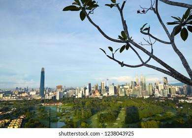 beautiful kuala lumpur skyline view with blue sky