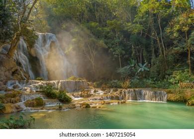 The beautiful Kuang Si Waterfall near Luang prabang in Laos.