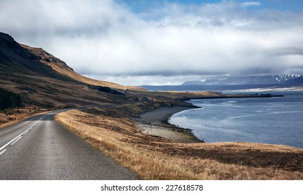 Beautiful ladnscape of highway and fjord at Iceland