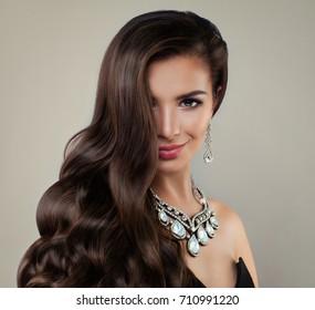 Beautiful Lady with Diamond Jewelry and Long Hair. Beautiful Woman Fashion Model, Portrait