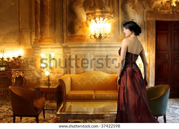 beautiful lady in a luxury living room
