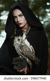 Beautiful lady of the owls. Dark fantasy