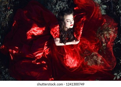 Beautiful lady with perfect make up and hairstyle wearing luxurious silk red ballroom dress sitting in the field with closed eyes and crossed arms. The skirt of her dress looks as butterfly wings