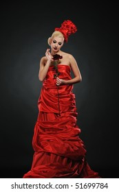Beautiful lady with a red rose