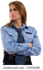 Beautiful lady in a uniform of police officer on a white background
