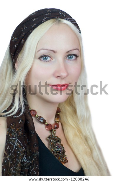 Beautiful lady wearing headscarf and necklace isolated on white