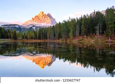 Beautiful Lago Di Antorno lake at background Drei Zinnen (Tre Cime di Lavaredo) mountain on the Dolomites in Italy